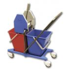 02110 Уборочная тележка Vileda двухведерная с механическим отжимом, нейлоновое основание, стальная база